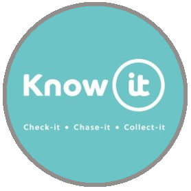 Know-it logo with white text and green background